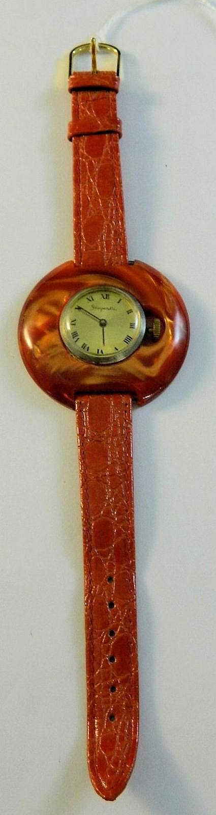 Red Schiaparelli ladies wrist watch