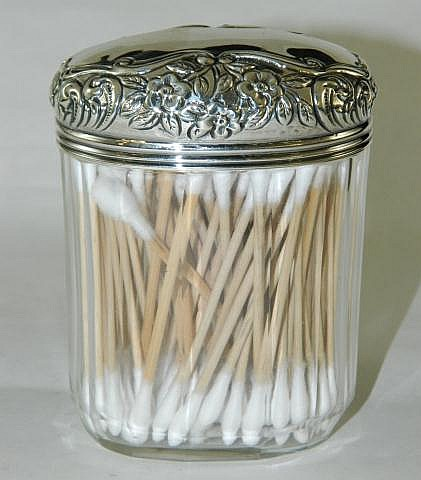 Cut glass jar with hallmarked silver lid