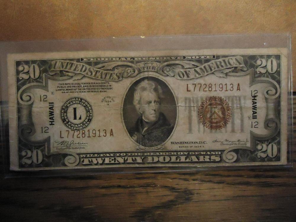 1934-A $20 FRN HAWAIIAN OVERPRINT BROWN SEAL