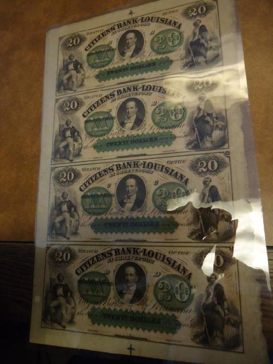 SCARCE UNCUT SHEET OF 4-$20 CITIZENS BANK OF