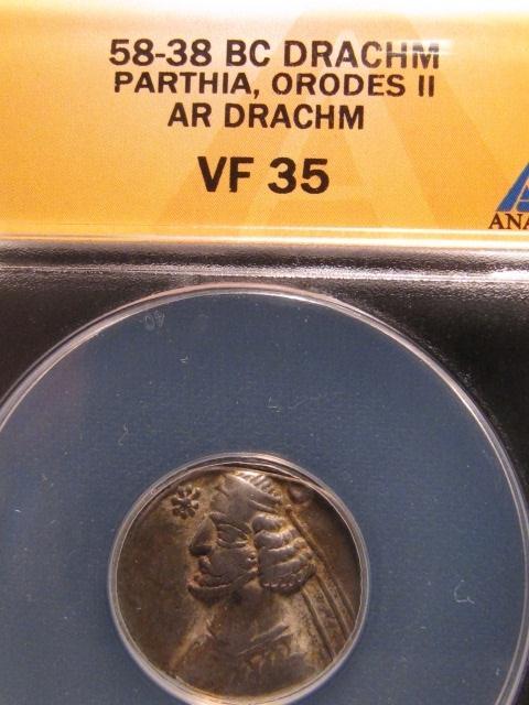 Ancient Drachm Parthia Orodes II - ANACS VF35