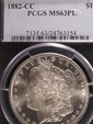 1882-CC Morgan Silver Dollar - PCGS MS63 PL