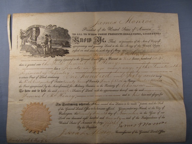 1820 Land Grant Signed by James Monroe