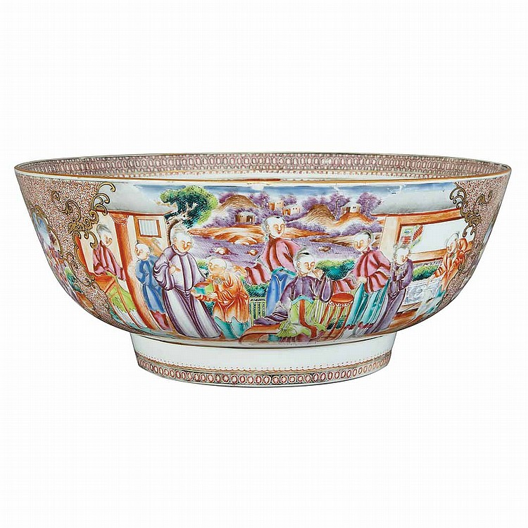 Canton Chinese Export Porcelain Punch Bowl
