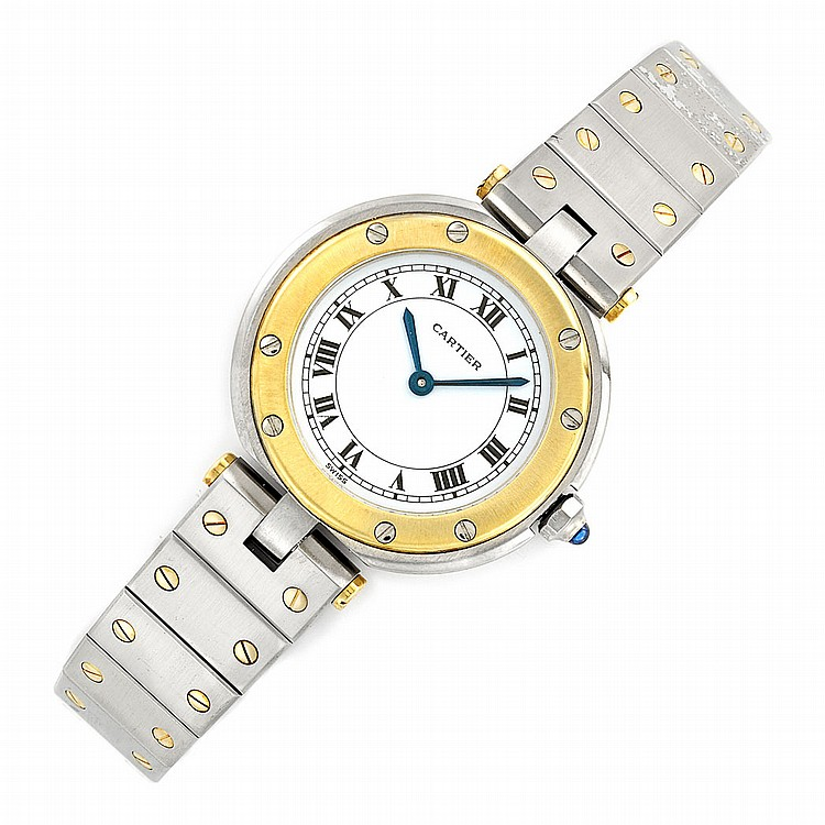 Lady's Stainless Steel and Gold 'Santos' Wristwatch, Cartier