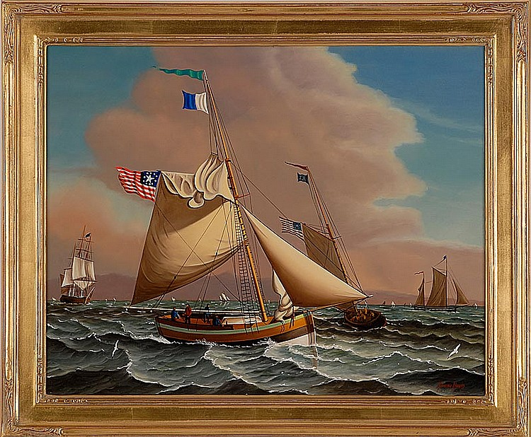 "JEROME HOWES, American, b. 1955, Early American pilot boats., Oil on masonite, 16"" x 20"". Framed."