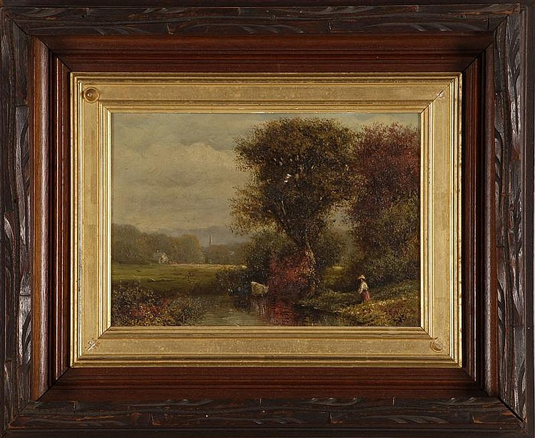 """GEORGE E. NILES, American, 1837-1898, New England landscape, Oil on artist board, 7"""" x 10"""". Victorian gilt-lined frame."""