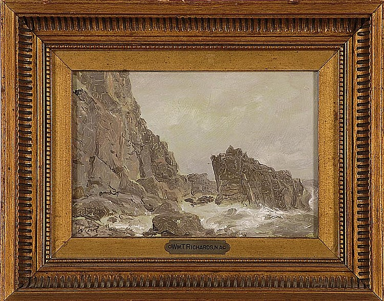 "WILLIAM TROST RICHARDS, American, 1833-1905, ""Clovelly"", depicting rough seas crashing upon a rocky coast., Oil on panel, 5"" x 7"". F..."