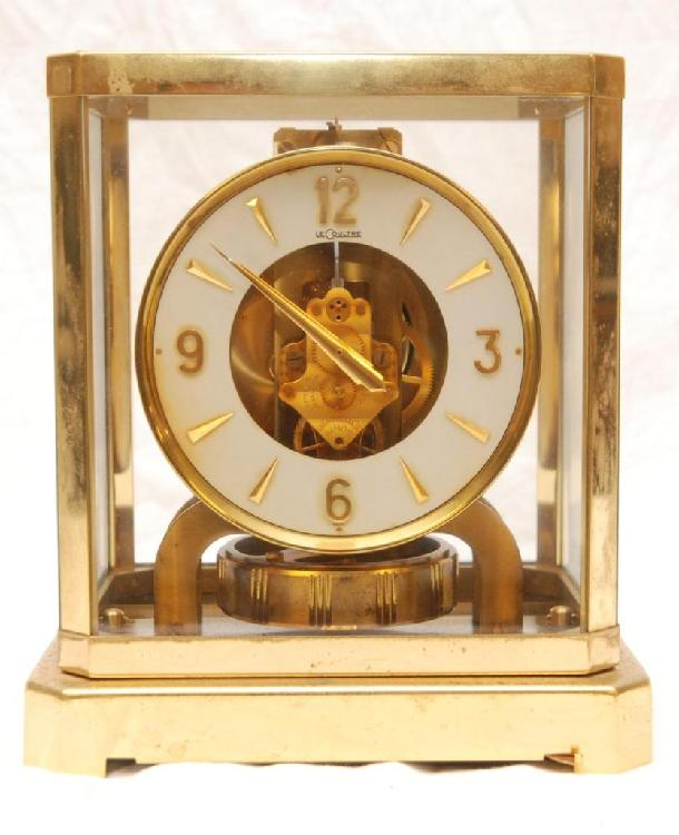 LE COULTRE BRASS MANTLE CLOCK w GLASS CASE
