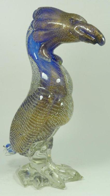 MURANO GLASS GOLD FLECKED DODO BIRD SCULPTURE