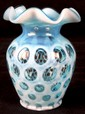 L34 LOT OF 3 VINTAGE FENTON BLUE OPALESCENT COIN DOT VASE AND BASKET