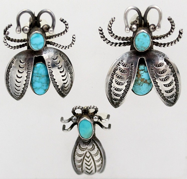 L15 LOT OF 3 VARIOUS SIZED c. 1930-40 NAVAJO STERLING SILVER TURQUOISE BEETLES