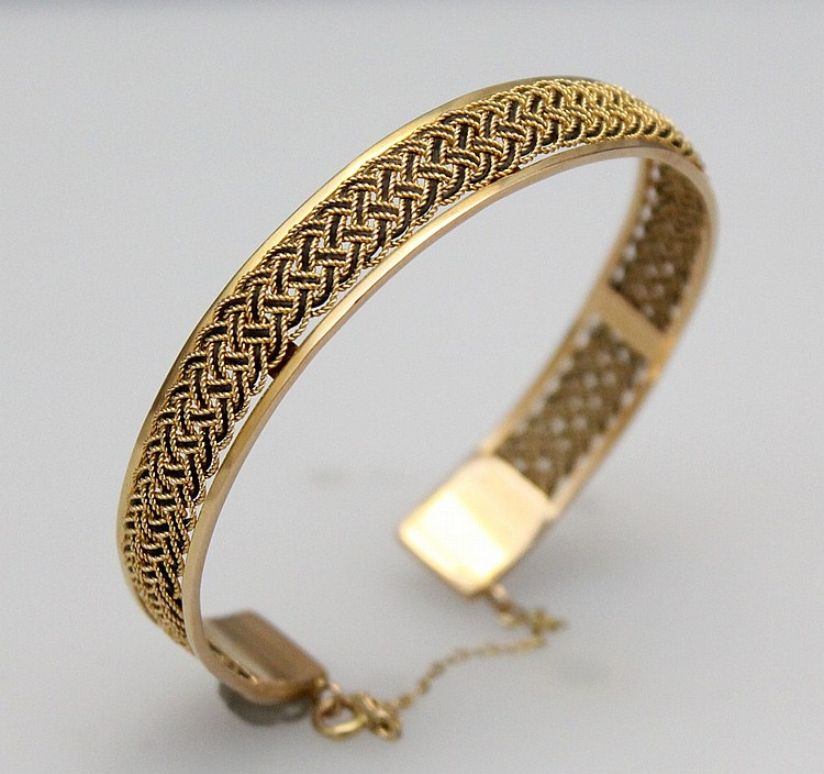 L243 SOLID 18kt YELLOW GOLD AND ENAMELING CUFF BRACELET