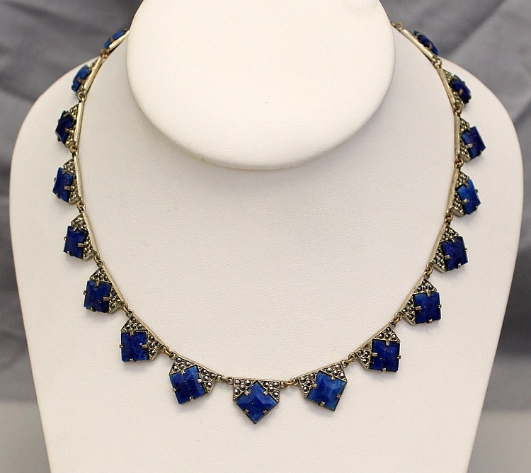 L33 VINTAGE 1930s TRUE ART DECO CZECH LAPIS AND SILVER NECKLACE
