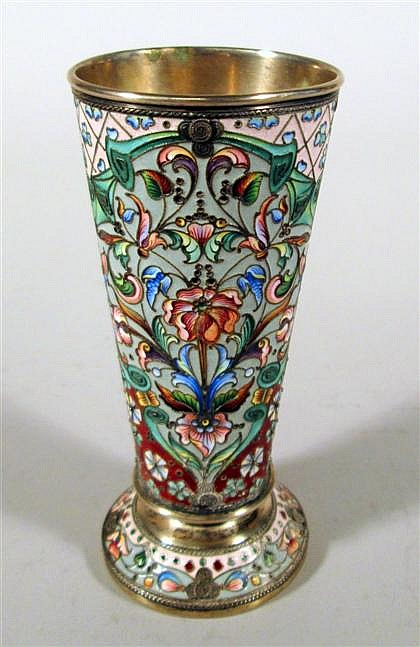 Russian Art Nouveau style enameled silver beaker, , Tapering cylindrical form with central cartouches framing a polychrome floral desig