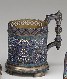 Russian cloisonné enamel silver podstakannik or tea glass holder, gustav klingert, assay master anatoly artsybashev, moscow, 1892, The