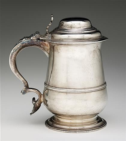 George III silver tankard, william & james priest, london, 1764-65, Baluster form with narrow girdle on spreading circular foot, pierce