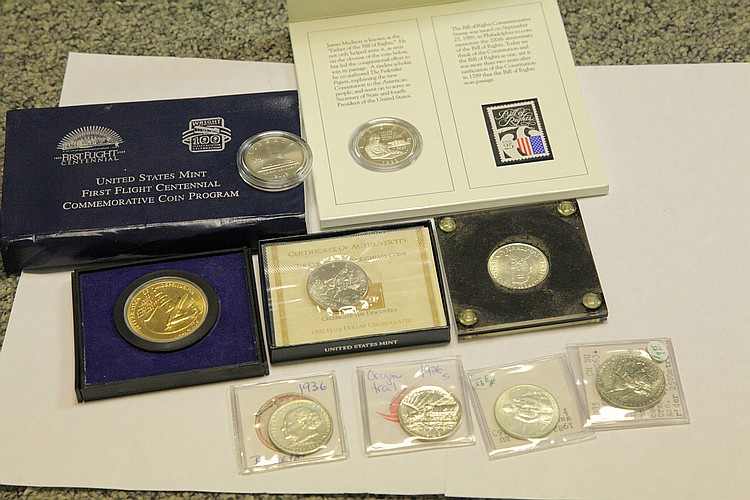 TEN COMMEMORATIVE COINS.