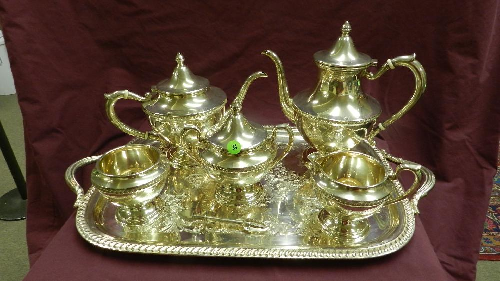 breathtaking sterling tea/coffee set with tea & coffee/ creamer & sugar, waste pot, with jensen / Lapaglia hallmark.with tray & sugar tongs (silver plate) coffee pot = tea pot = creamer & sugar = waste pot all stamped sterling silver,