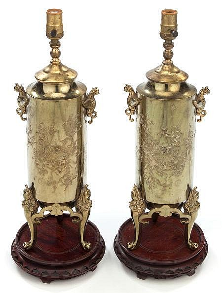 A PAIR OF CHINESE BRASS LAMP BASES 20th century 17 inc