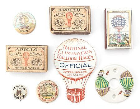 GROUP OF BALLOONING COLLECTIBLES 20th century 3-1/2 in
