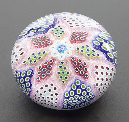 A ST. LOUIS CASED GLASS PAPERWEIGHT: ARLEQUIN Circa 19