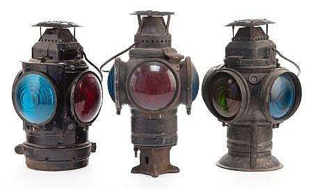 THREE ADLAKE RAILROAD LANTERNS 20th century Marks: THE