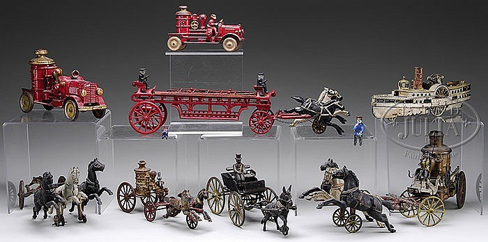 MISC. LOT OF CAST IRON TOYS AND PARTS.