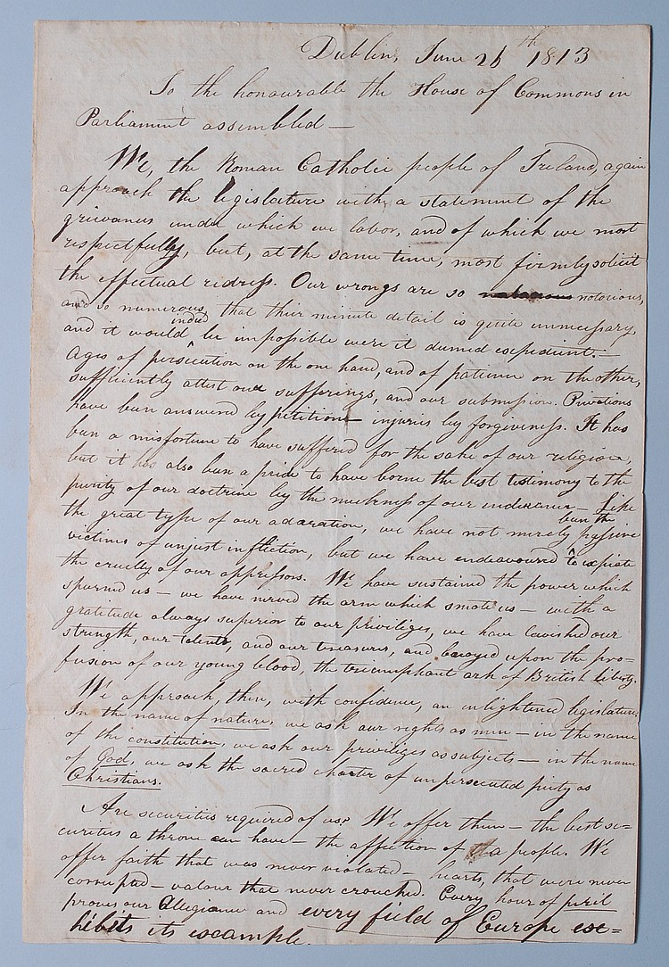 1813 PETITION OF IRISH ROMAN CATHOLICS TO PARLIAMENT