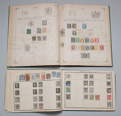 (2) VINTAGE ALBUMS OF MISC. U.S. & FOREIGN POSTAGE STAMPS INCLUDING 19TH CENT. STAMPS