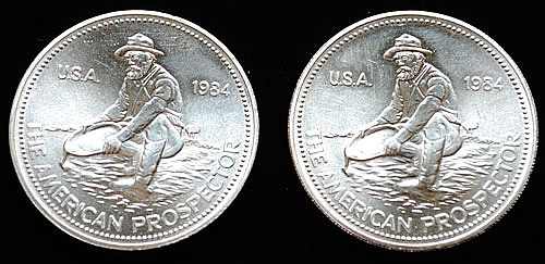 (2) 1984 U.S. SILVER 1 TROY OUNCE THE AMERICAN PROSPECTOR SILVER ROUNDS