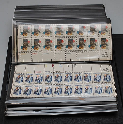 ALBUM OF MISC. UNUSED PARTIAL SHEETS U.S. POSTAGE STAMPS
