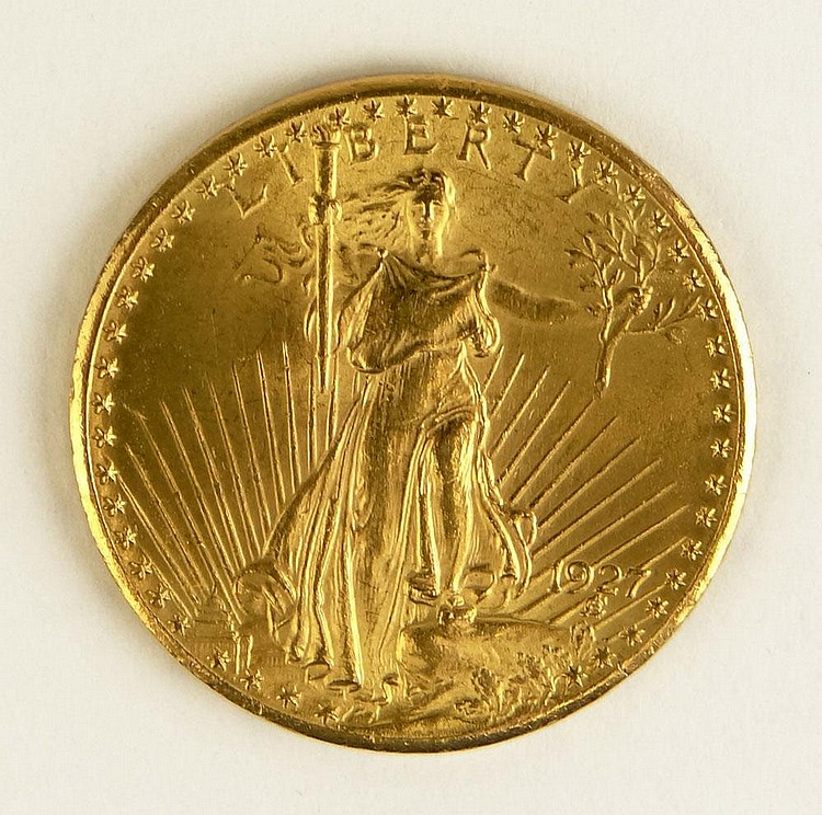 1927 St. Gaudens American Twenty Dollar Gold Coin. Good Condition. Domestic Shipping $12.00