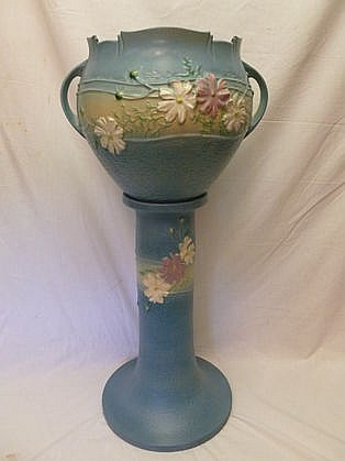 "Roseville Cosmo 32"" Jardiniere and Stand, Small Flake on Rim"