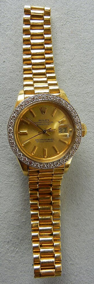 Ladies Rolex Oyster Perpetual w/ Date-Just, 18K Yellow Gold President Band and a Bezel w/ 32 Full Cut Diamonds, In Original Box w/ Paperwork, Made in 1979, Has Extra Links and Pins