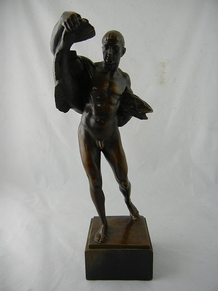 Ludwig Vordermayer (1868-1933) Finzel Bronze Make Nude Statue w/ Fish