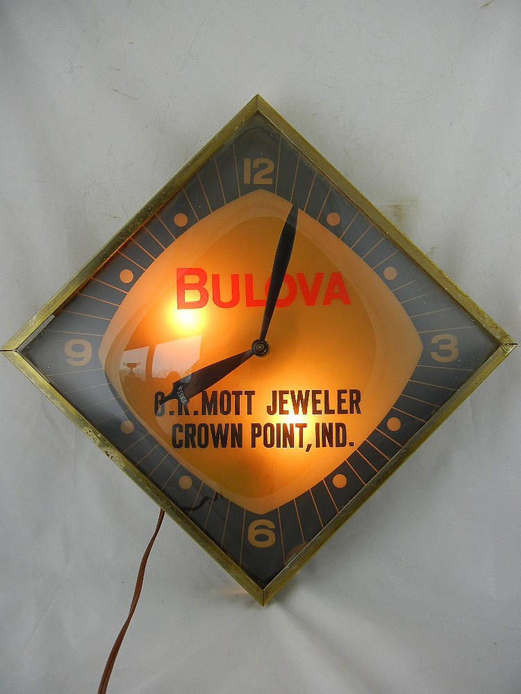 Bulova Lighted Wall Clock O.R. Mott Jeweler Crown Point, IN