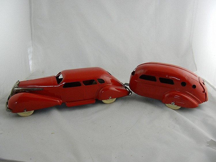 Wyandotte Red Sedan and Travel Trailer
