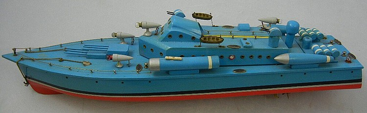 Antique Battery Operated Wood Battleship (Small)