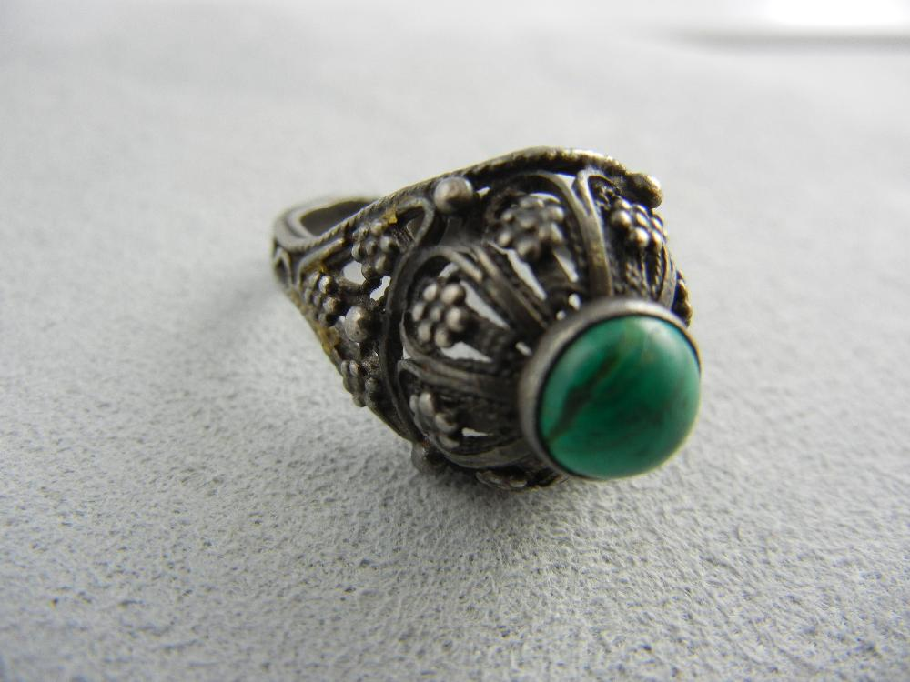 Judy Garland Silvertone and Turquoise Ring w/ 2 Letters