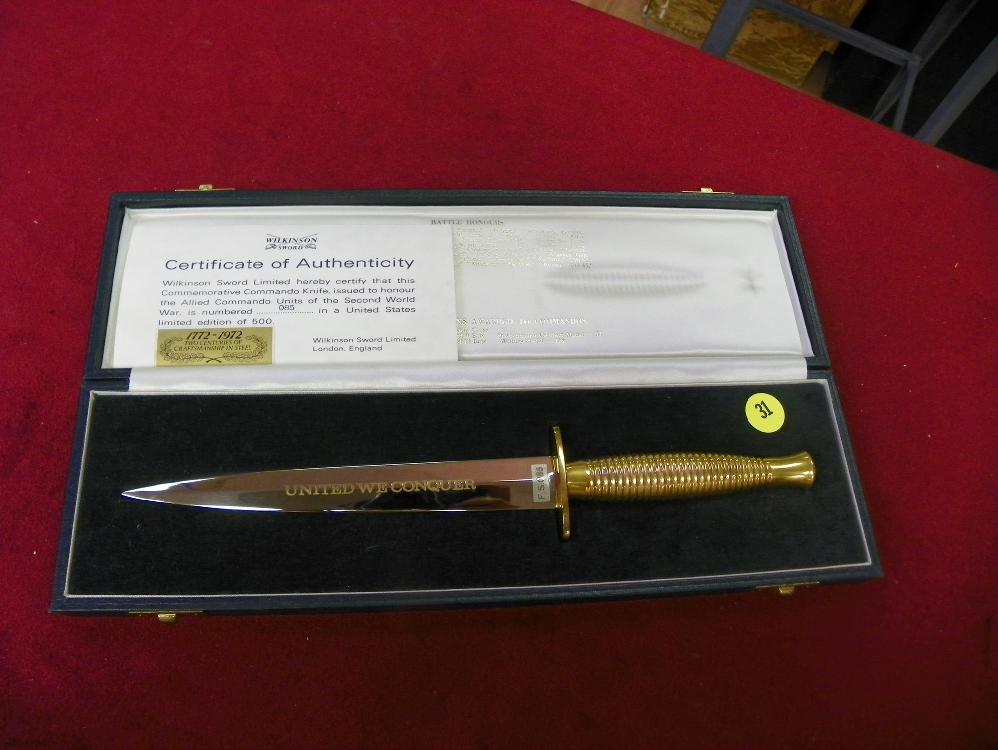 WILKINSON SWORD LIMITED COMMEMORATIVE COMMANDO KNIFE WITH COA AND BOX