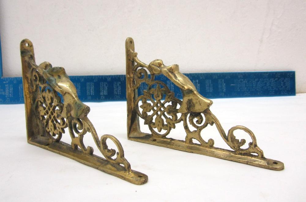 Antique Brass Figural Woman Shelf Brackets