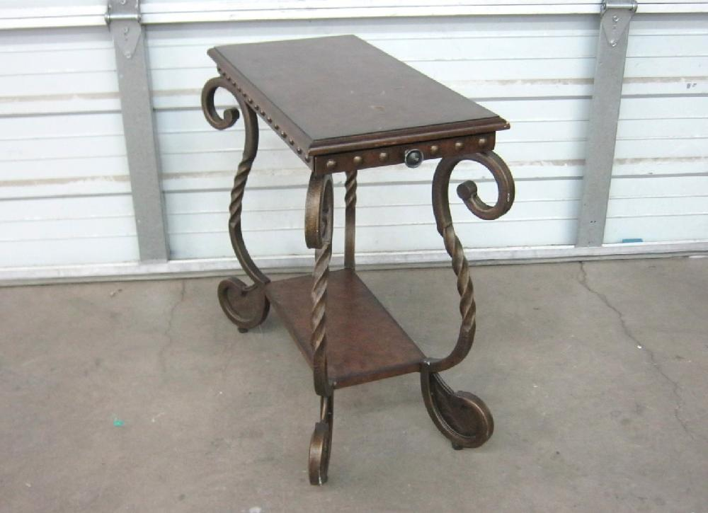 Darkwood End Table with Pull Out Tray