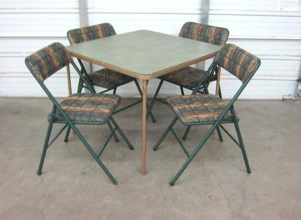 Green Card Table with 4 Folding Chairs