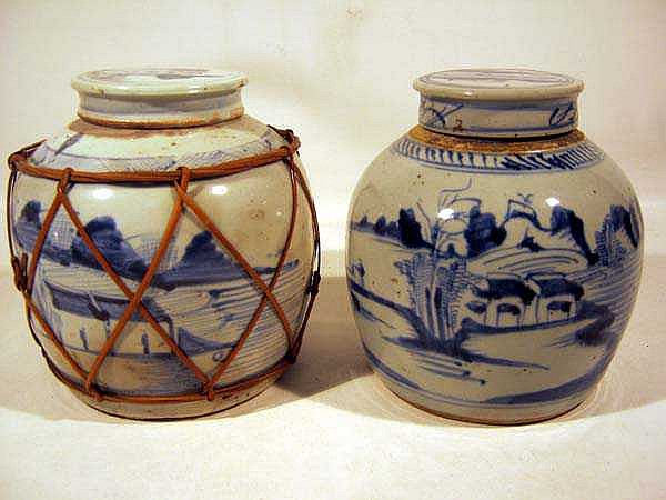 2 Pc. Vintage JAPANESE LIDDED JARS Scenic Blue & White Classic Shape
