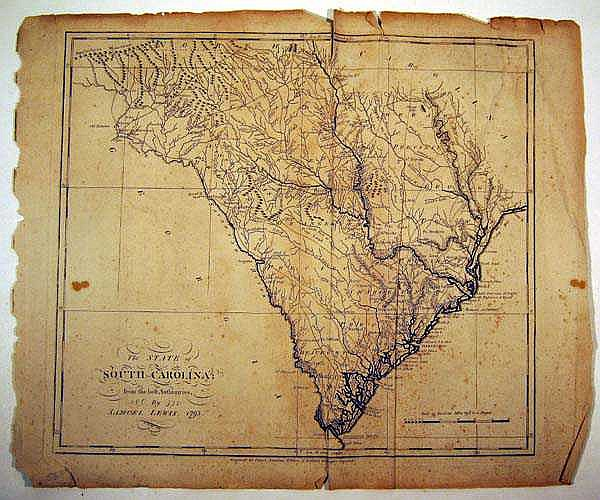 Samuel Lewis ANTIQUE ENGRAVED MAP OF SOUTH CAROLINA 1795 Antique Cartography Early American History