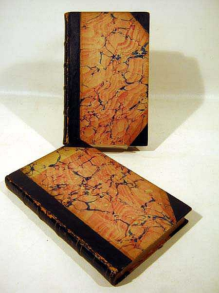 2V Washington Irving (Geoffrey Crayon) TALES OF A TRAVELLER 1824 First Edition Antique Decorative Leather Binding American Literature