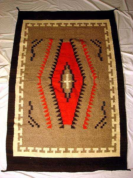 Vintage NAVAJO BLANKET Hand-Woven Wool 4'x6' Gray Red Black Ivory