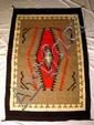 Vintage NAVAJO BLANKET Hand-Woven Wool 4'x6' Gray Red Black Ivory