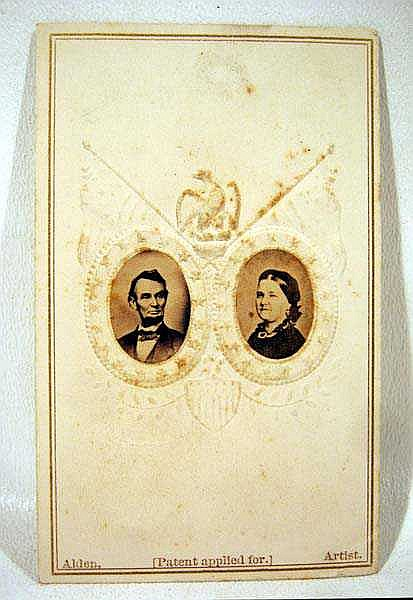 Antique President LINCOLN CARTE DE VISITE Original Photos CDV Alden Providence RI Mary Todd